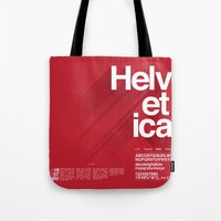helvetica Tote Bags featuring Helvetica by Cohen McDonald