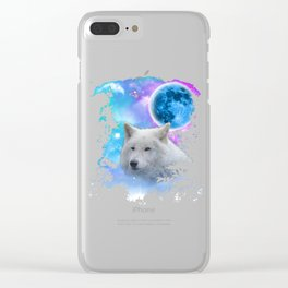 White Timber Wolf MidNight Forest Edit Clear iPhone Case