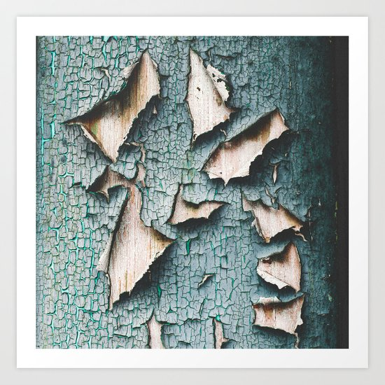 Rustic old light blue green peeling paint Art Print