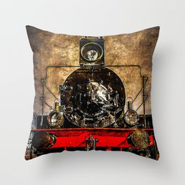 Vintage Steam Engine Locomotive - On The Sidelines Throw Pillow