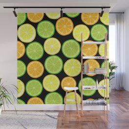 Citrus Slices on Black Wall Mural