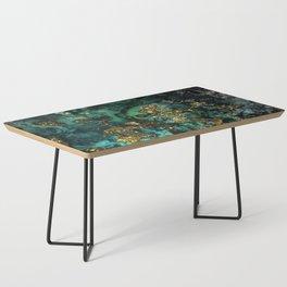 Gold Indigo Malachite Marble Coffee Table