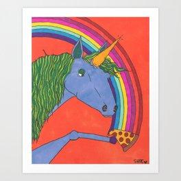 Unicorns love Pizza Art Print