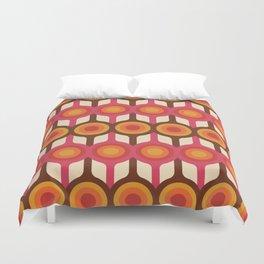 Magenta, Orange, Ivory & Brown Retro 1960s Circle Pattern Duvet Cover