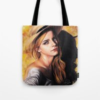 emma watson Tote Bags featuring EMMA WATSON by Laura Catrinella