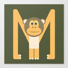 Letter M // Animal Alphabet // Monkey Canvas Print