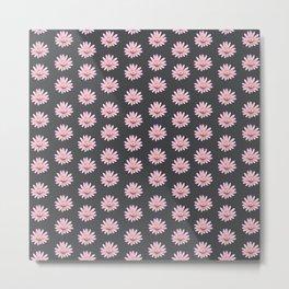 Modern gray blush pink girly daisies floral pattern Metal Print
