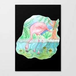 Flamingo Underwater Watercolor and Acrylic Painting Canvas Print