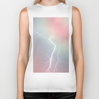 lightning Biker Tanks featuring Lightning  by littlehomesteadco