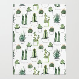Watercolour Cacti & Succulents Poster