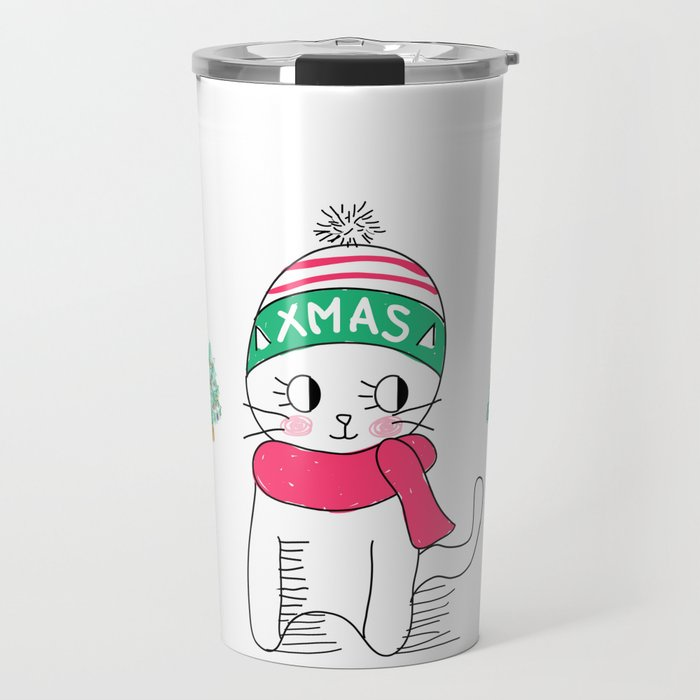 Adorable Little Cat in Christmas Time. Travel Mug