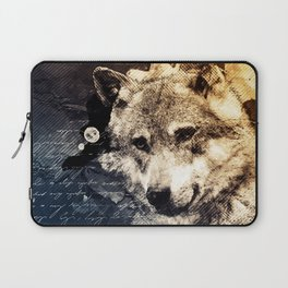 Vintage wolf, Mixed media Wolf Art, Wolf Painting, Wolf Decor, Best Wolf, Cool, Wolf Laptop Sleeve