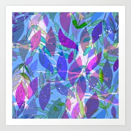 modern leaves pattern Art Print