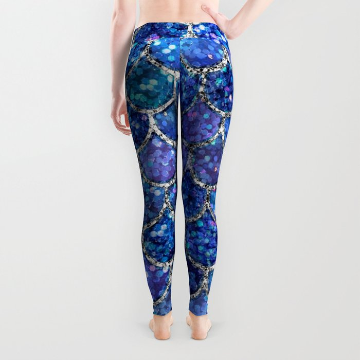 Sparkly Shades of Blue & Silver Glitter Mermaid Scales Leggings