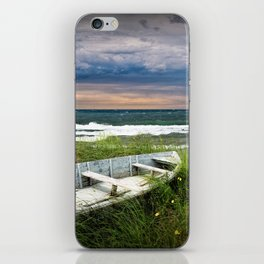 Abandoned Boat on Grassy Shore Land at Sunset iPhone Skin