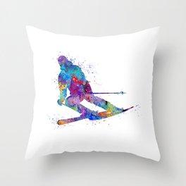 Boy Skiing Watercolor Gift Throw Pillow