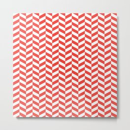 Red Orange Herringbone Pattern Metal Print