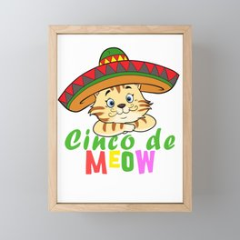 Cute Cinco De Meow Funny Cat Design Framed Mini Art Print