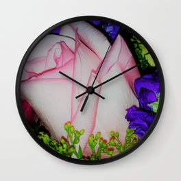 Pink Rose Bud Wall Clock