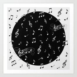 Music White and Black Art Print
