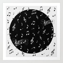 Music White and Black Art Print