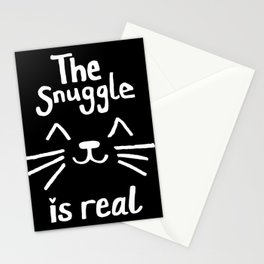 The Snuggle is Real (White on Black) Stationery Cards