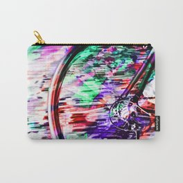 bicycle wheel with colorful abstract background in green red and purple Carry-All Pouch