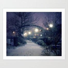 Winter Garden in the Snow Art Print