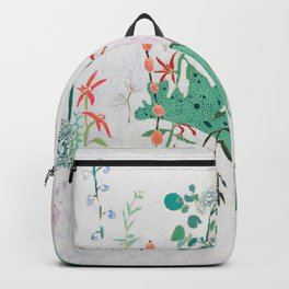 Abstract Jungle Floral on Pink and White Backpack