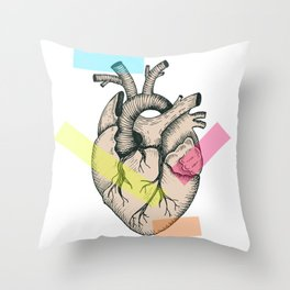 Realistic anatomical vector heart Throw Pillow
