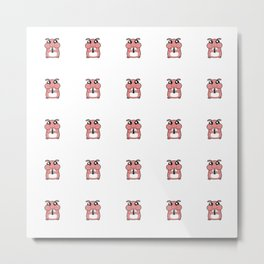 Cute Duotone Hamster Pattern Illustration Metal Print