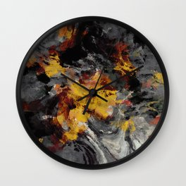 Yellow / Golden Abstract / Surrealist Landscape Painting Wall Clock