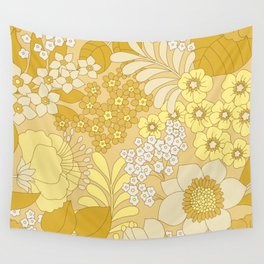 Yellow, Ivory & Brown Retro Floral Pattern Wall Tapestry
