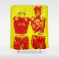 basquiat Shower Curtains featuring Warhol/Basquiat by Trey Visions
