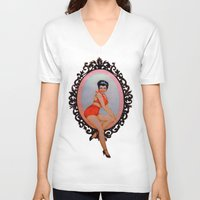 pin up V-neck T-shirts featuring Pin Up by Lydia Dick