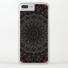 Red and Black Bohemian Mandala Design Clear iPhone Case