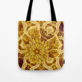 Mysterious glowing kaleidoscope and flower Tote Bag