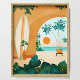 Seaside Surf Retreat / Tropical Landscape Serving Tray
