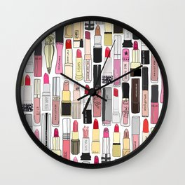 Lipsticks Makeup Collection Illustration Wall Clock
