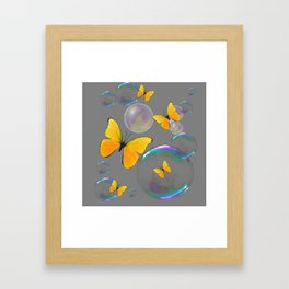 IRIDESCENT BUBBLES & YELLOW BUTTERFLIES GREY ART Framed Art Print