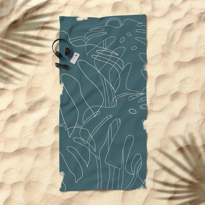 Monstera No2 Teal Beach Towel