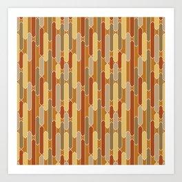 Tabs in Burnt Orange, Rust, Yellow and Tan Art Print