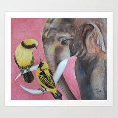 elephant fantasy (pink) Art Print