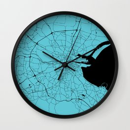 Dublin Ireland Turquoise on Black Street Map Wall Clock