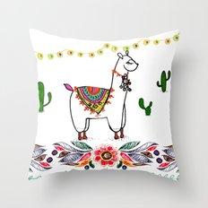 Llama Illustration Throw Pillow