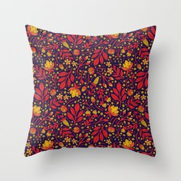 Saturated Red, Yellow & Orange & Dark Navy Blue Floral Pattern Throw Pillow