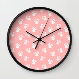 Cat Dog Animal Paw Print Pattern Pink Wall Clock