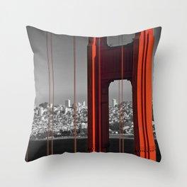 Golden Gate Bridge | Panoramic Downtown View Throw Pillow