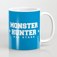 monster hunter Mugs featuring Monster Hunter All Stars - Loc-Lac Riders by Bleached ink