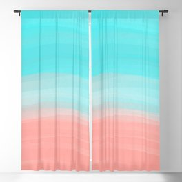 Artsy Modern Coral Blue Brushstroke Gradient Blackout Curtain